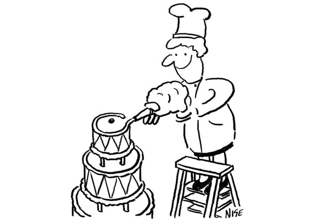 Cake making cartoon. A woman is on a stepladder decorating a huge wedding cake