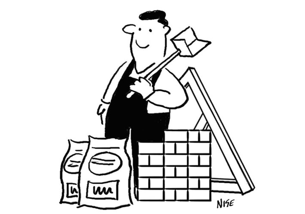 General Builder cartoon shows a builder with bricks, a hod, cement, and roof trusses