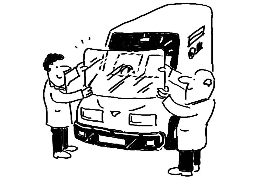 Windscreen replacement cartoon. Two men are replacing the windscreen on a motor vehicle