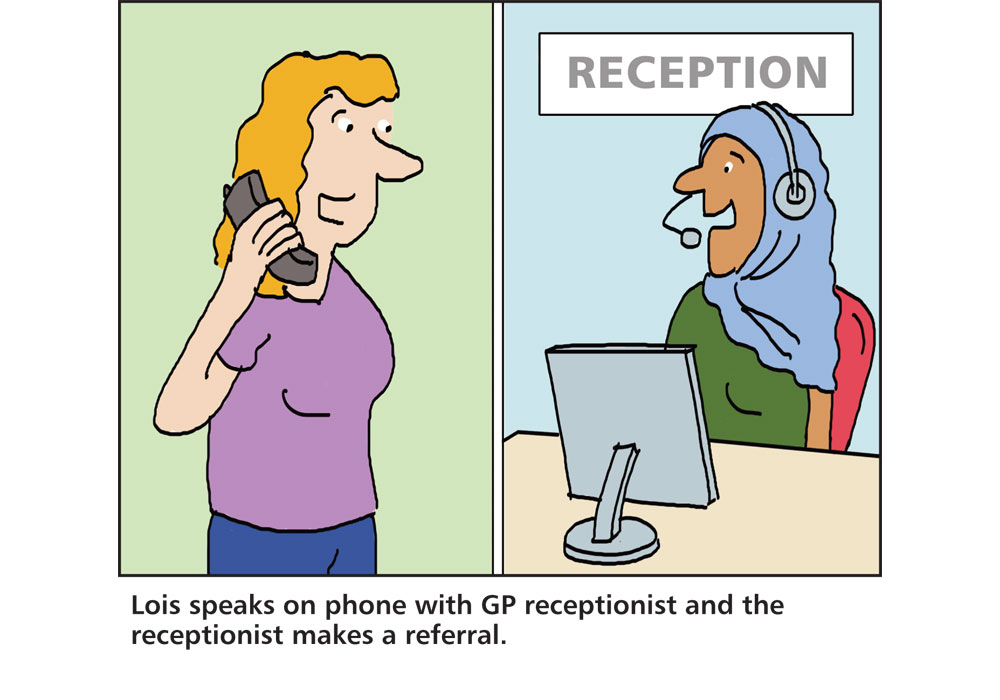 Nhs Receptionist Wearing A Hijab On The Phone To A Patient
